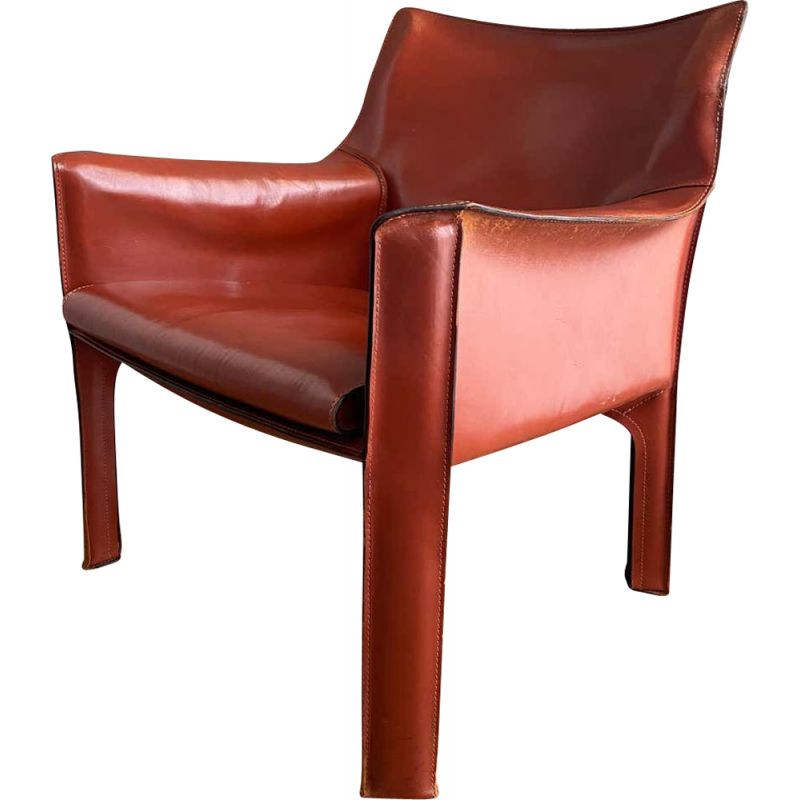 Vintage leather armchair by Mario Bellini 1970s