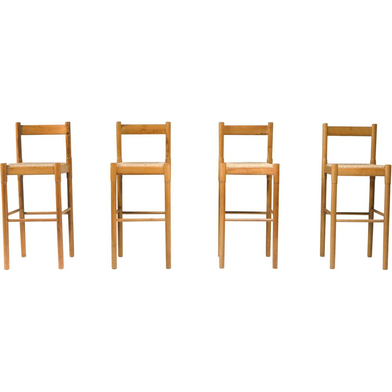 Set of 4 Vintage Carimate barstools by Vico Magistretti for Cassina 1962s