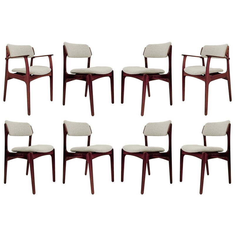 Set of 6 chairs and 2 vintage armchairs by Erik Buch for Oddense Maskinsnedkeri O.D. Møbler Danish 1960s
