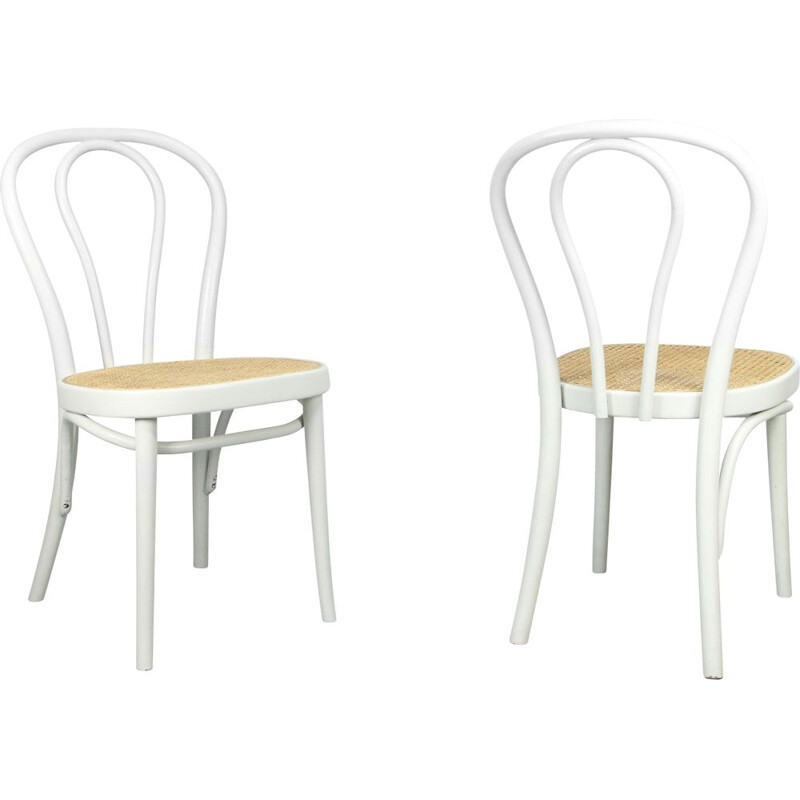 Pair of Vintage N. 218 White Chairs by Michael Thonet