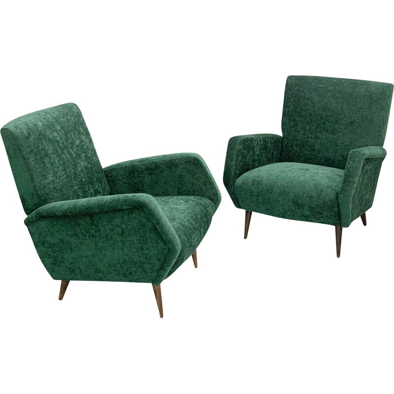 Pair of Vintage Armchairs Model 803 For Cassina Gio Ponti Italy 1954