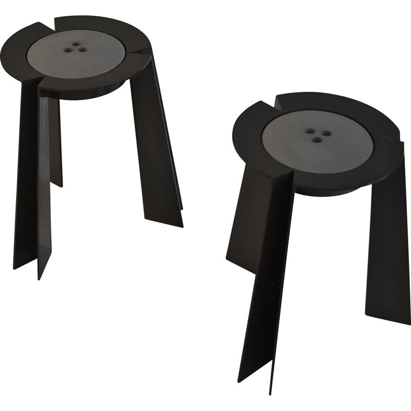 """Pair of """"Trick"""" stools vintage by Alessandro Mendini for Vanini, 1988"""