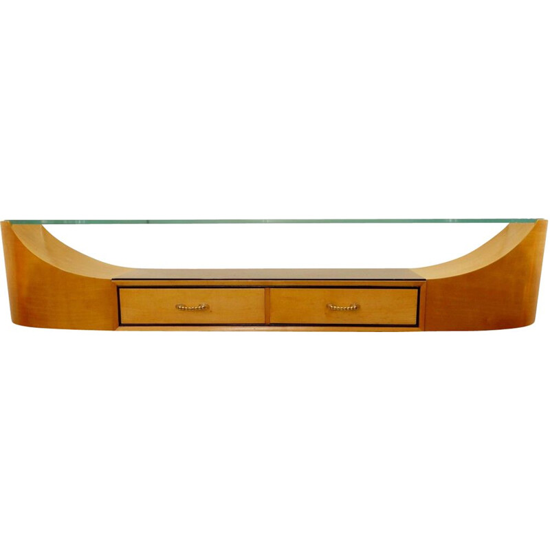 Vintage Art Deco wall console with curved glass top