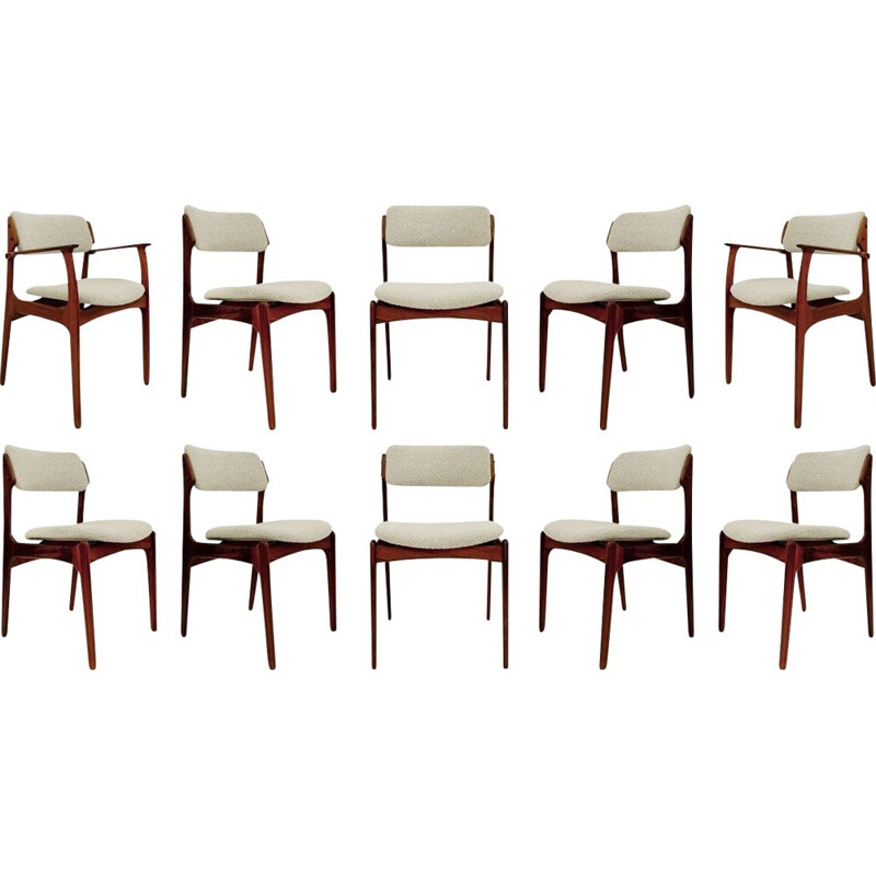 Lot of 8 chairs and 2 vintage armchairs by Erik Buch for Oddense Maskinsnedkeri O.D. Møbler Danish 1960