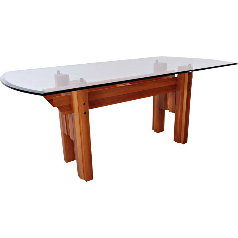 Vintage Dining Table, Wood And Glass Top By Franco Poli For Bernini Italian 1979