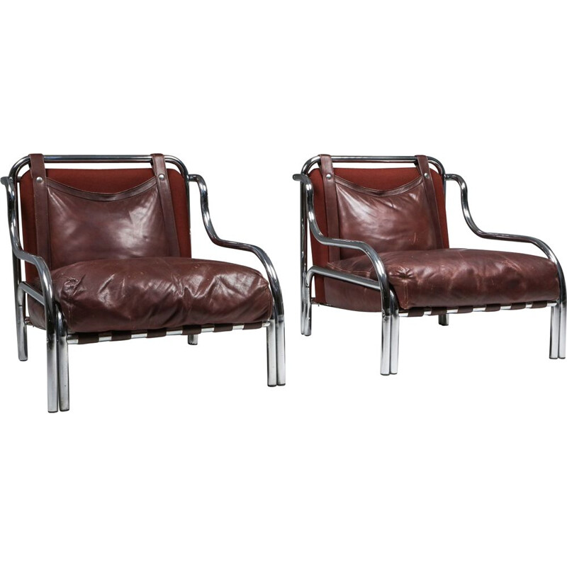 Pair of Vintage 'Stringa' Armchairs Gae Aulenti 1962