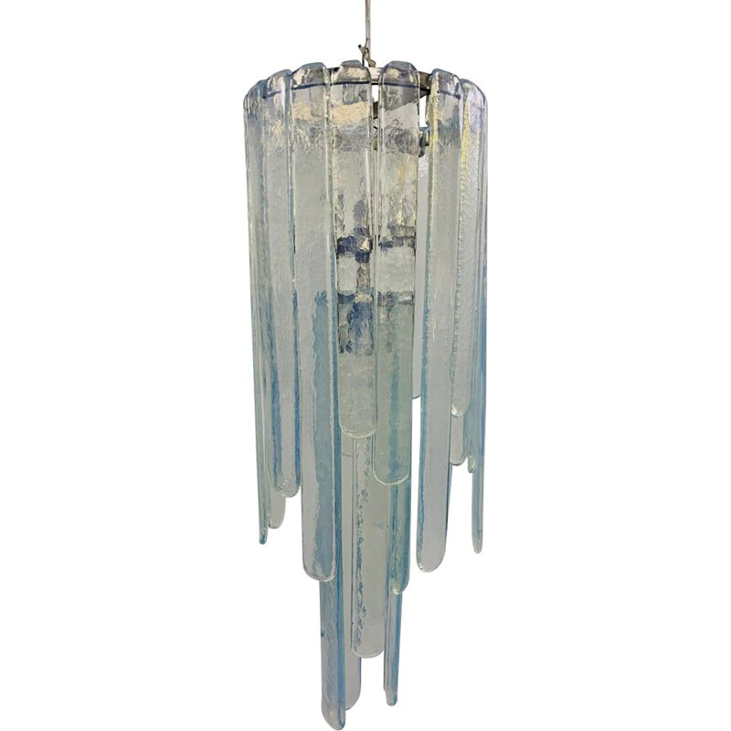 Vintage chandelier in opalescent Murano glass