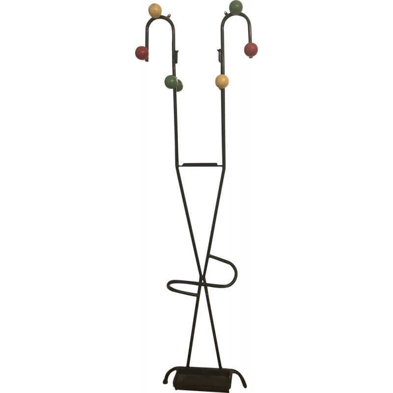 Vintage coat rack on wall on stand 1960s