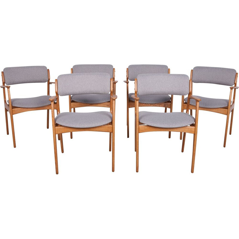 Set of 6 vintage Oak Armchairs by Erik Buch for O.D. Mobler 1960s
