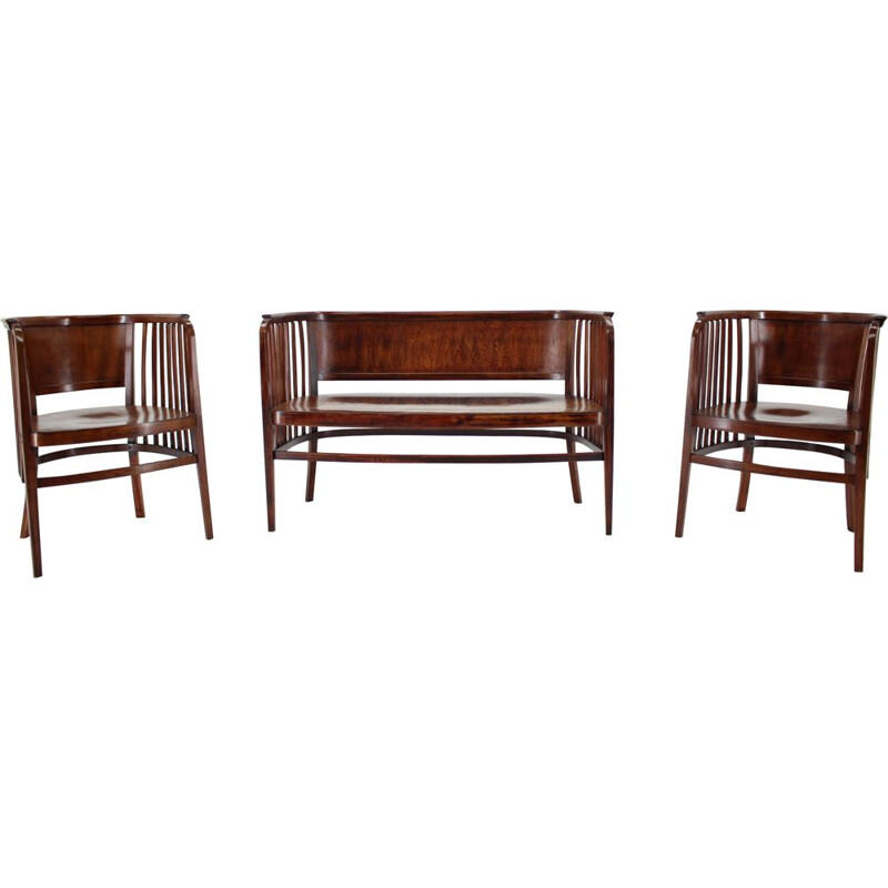 Vintage Marcel Kammerer Wooden Sofa and Chairs for Gebruder Thonet 1910s