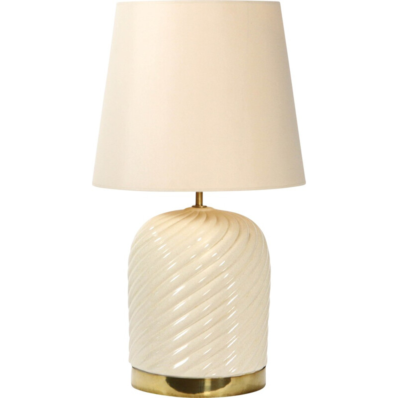 Italian table lamp in cream ceramic and brass, Tommaso BARBI - 1970s