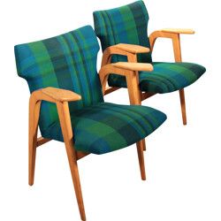 Pair of armchairs in beech wood and fabric, Roger LANDAULT - 1950s