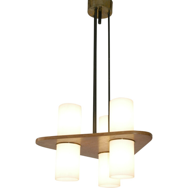 Italian hanging lamp in teak and brass - 1950s