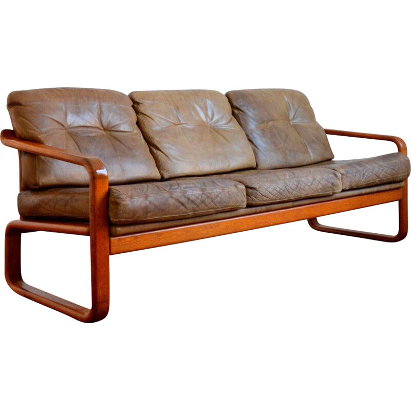 Vintage teak and leather sofa by Holstebro Möbelfabrik 1970s