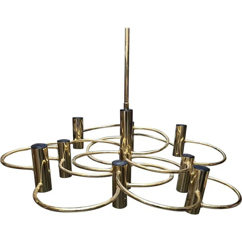 Vintage Brass Chandelier Italy 1960s
