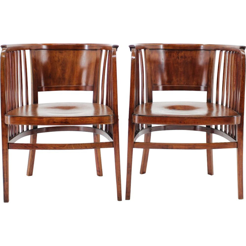 Pair of vintage Marcel Kammerer Wooden Chairs for Gebruder Thonet 1910s