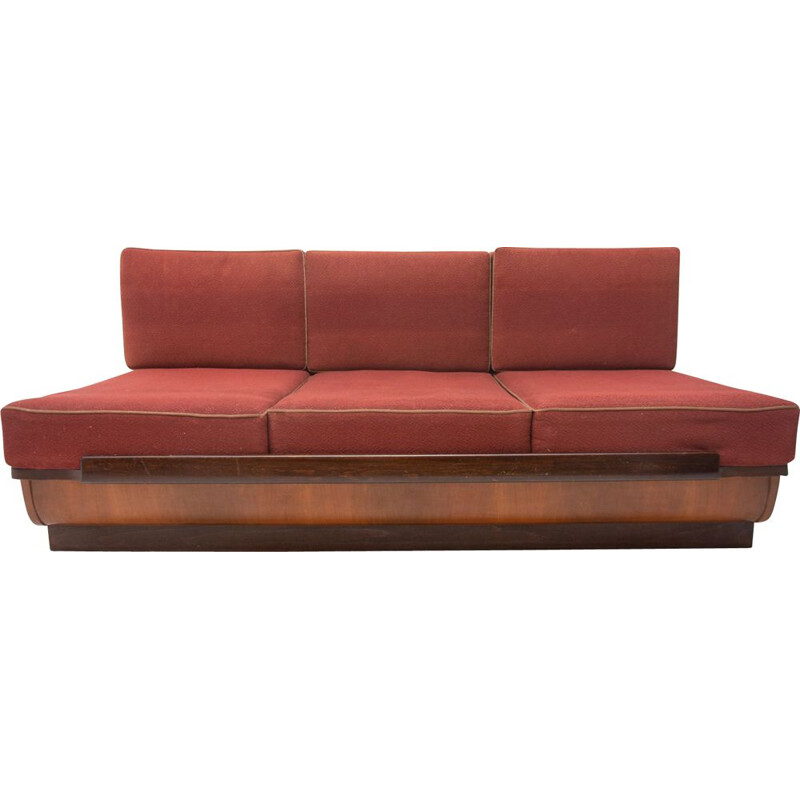 Mid-century sofabed in walnut by Jindrich Halabala for UP Zavody 1950s