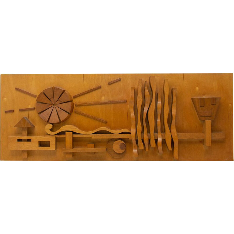 Vintage Wooden wall sculpture Eastern bloc 1970s