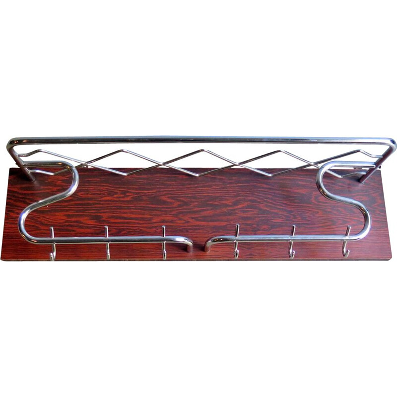 Vintage Chrome plating metal in a rosewood board coat rack 1950s