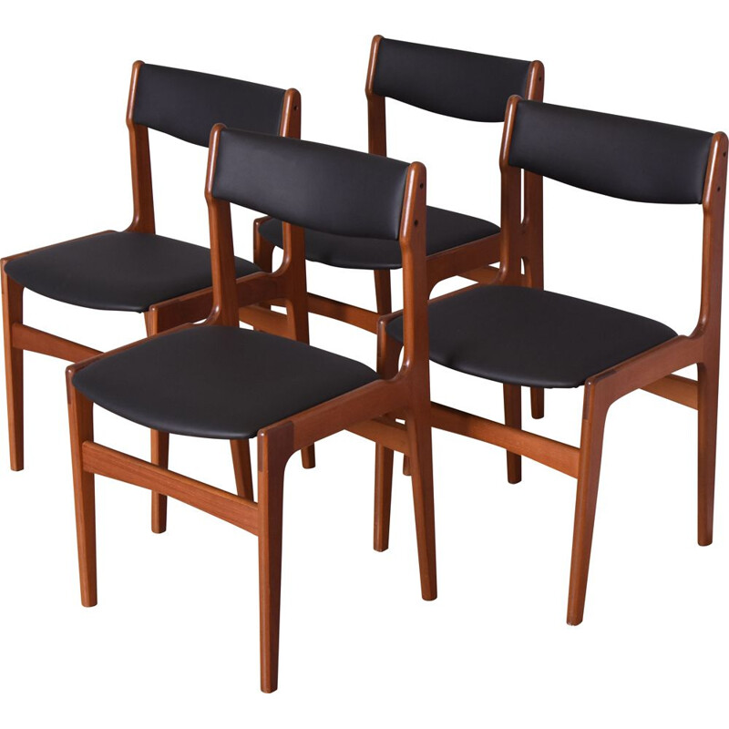 Set of 4 vintage Dining Chairs By Erik Buch For O.D. Mobler Denmark 1960s