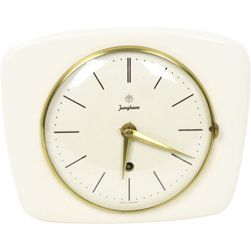 Vintage Junghans ceramic wall clock Germany 1950s