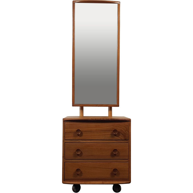 Vintage Ercol Cheval Mirror with 3 Drawers 1960s