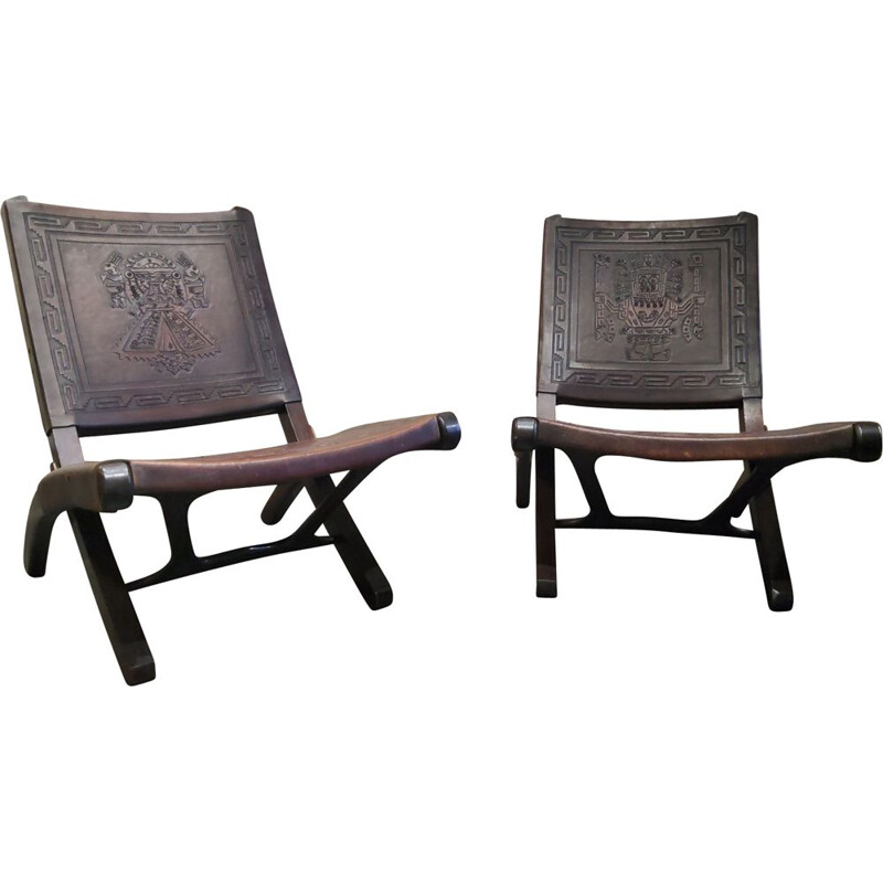 Pair of vintage armchairs by Angel Pazmino 1960s
