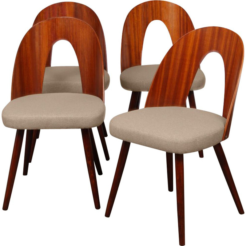 Set of 4 vintage chairs by Antonin Suman 1960s