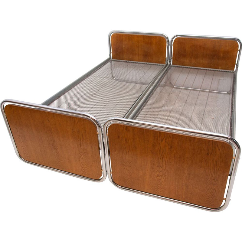 Pair of vintage Chromed beds by Kovona Czechoslovakia 1950s