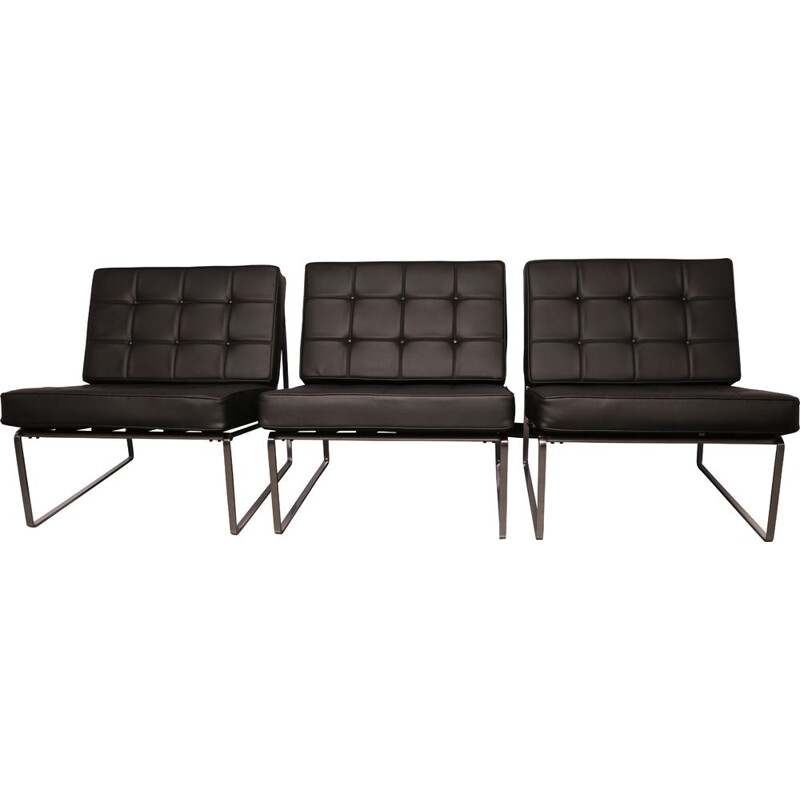 Set of 3 vintage lounge chairs in black leather by Kho Liang Ie for Artifort Netherlands 1960s