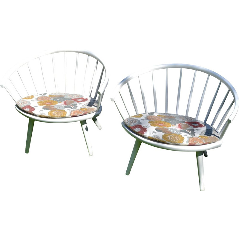 Pair of vintage Model Arka Easy Chairs by Yngve Ekström for Stolab 1950s