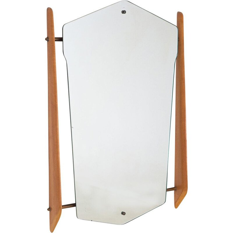 Vintage Wall Mirror with Maple Wood and Brass Frame Italy 1950s
