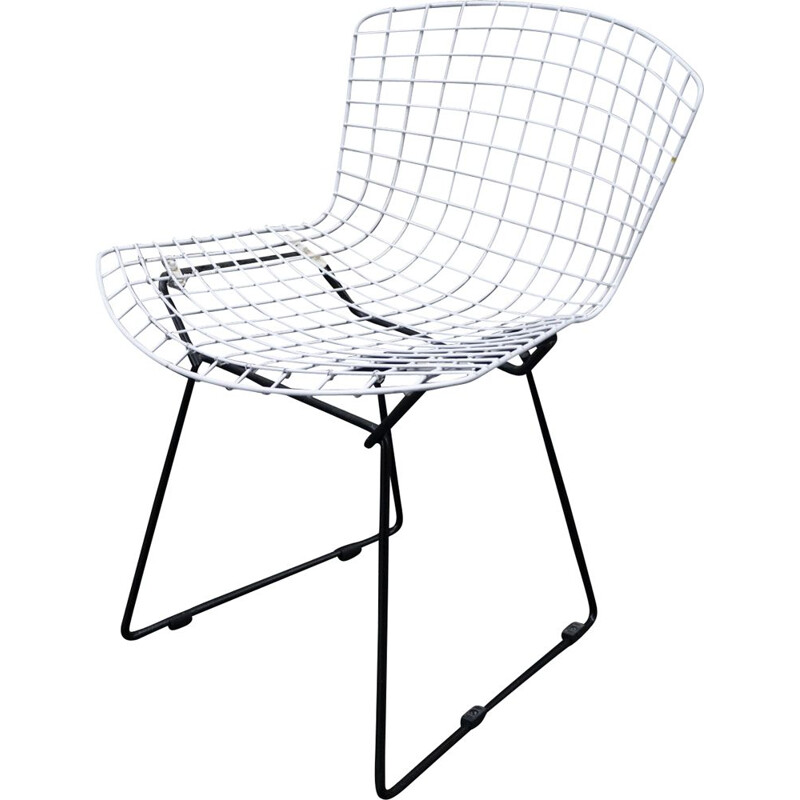 Vintage Harry Bertoia Knoll Wire Black and White Chair 1960s