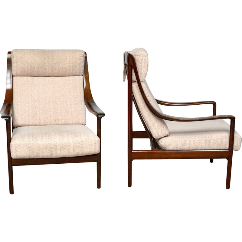 Pair of vintage rosewood armchairs by Wilhelm Knoll 1960s
