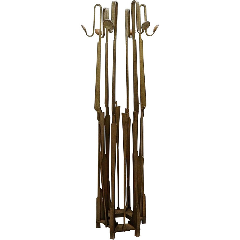 Vintage Brutalist Wrought Iron Coat Rack