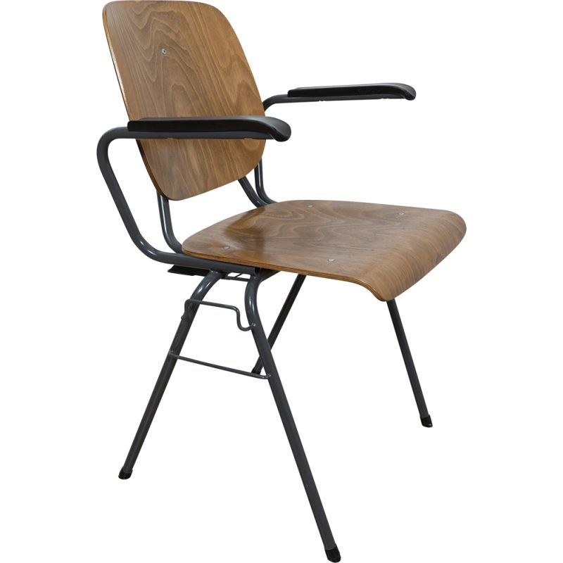 Vintage Stackable industrial chair with armrests by Kho Liang Ie