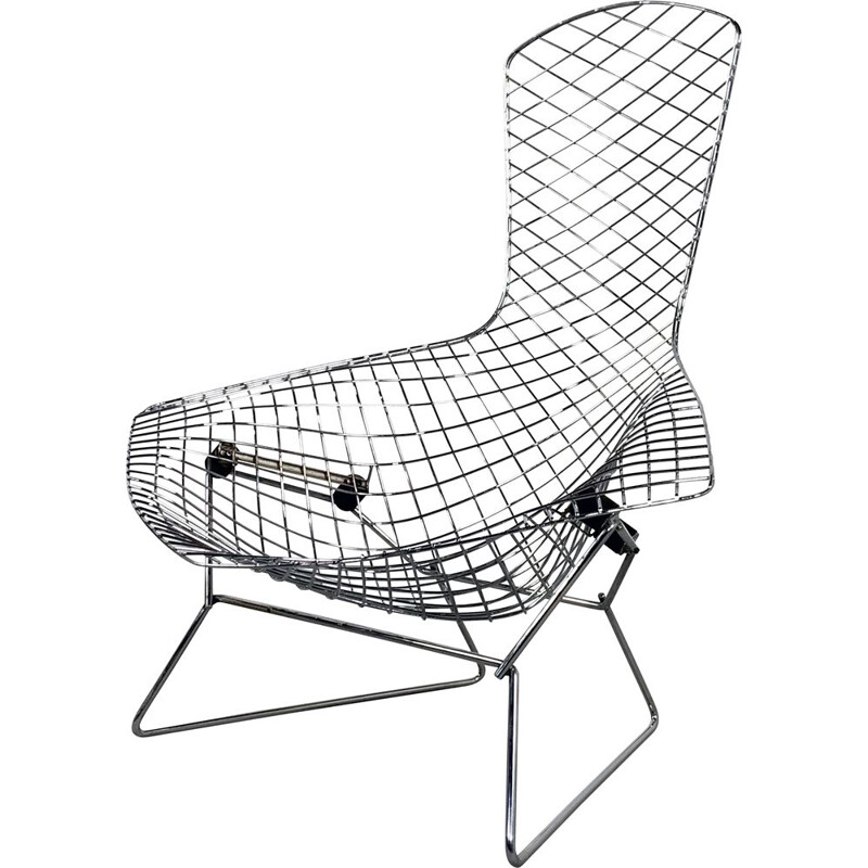 Vintage Chromed Bird Lounge Chair by Harry Bertoia for Knoll 1970s