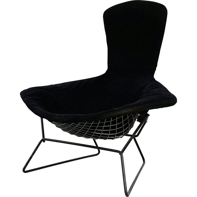 Vintage Bird Lounge Chair with Velvet Black Cover by Harry Bertoia for Knoll 1960s