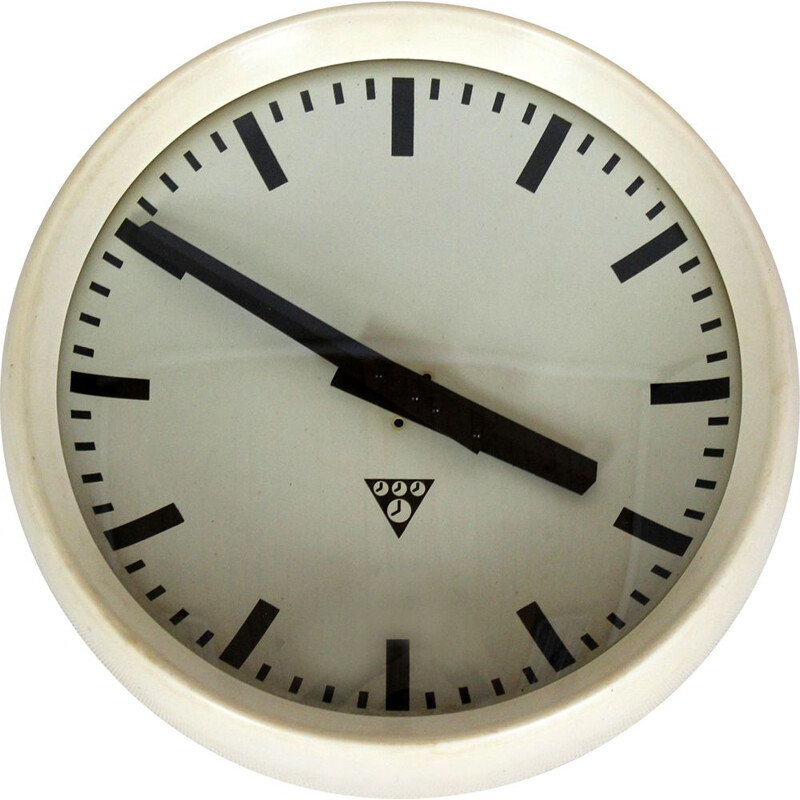 Vintage White Bakelite Railway Clock from Pragotron 1950s