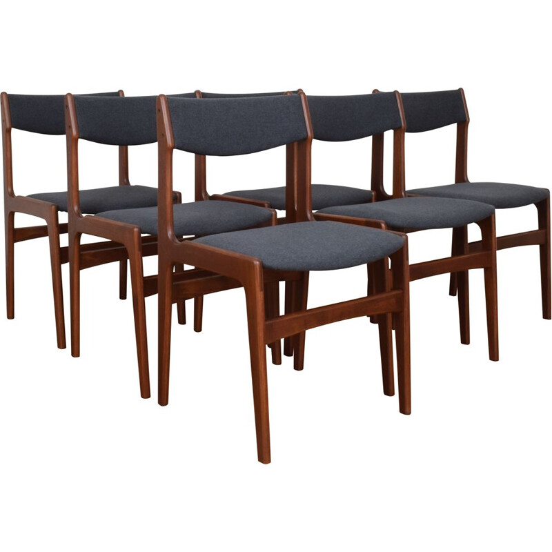 Set of 6 vintage Mid-Teak Dining Chairs by Erik Buch Denmark 1960s