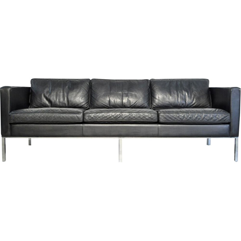 Vintage 3-seater leather sofa by Kho Liang Ie for Artifort Netherlands 1980s