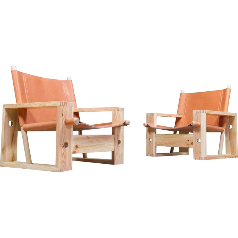 Pair of vintage Ate Van Apeldoorn Lounge Chairs in Pine and Leather 1960s