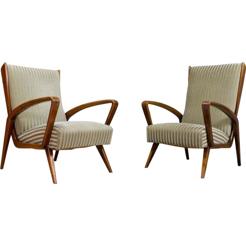 Pair of vintage Chairs in Walnut and Velvet by A.A.Patijn Art Deco 1950s