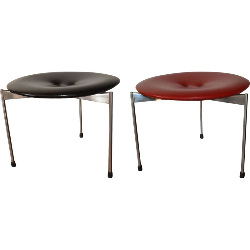Pair of vintage Red & Black Vinyl Stools by Uno & Östen Kristiansson for Luxus 1962s