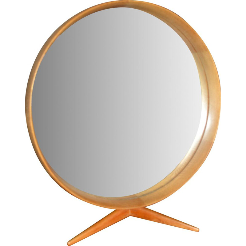 Large Vintage Wooden Framed Table Mirror by Uno & Osten Kristiansson for Luxus 1960s