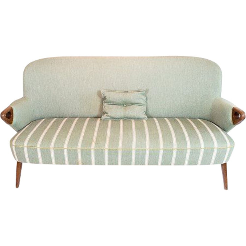 Vintage seater sofa with light green striped fabric and teak legs and arms Denmark 1960s
