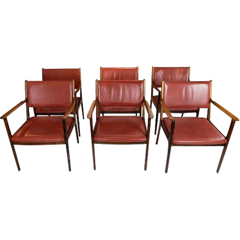 Set of 6 vintage armchairs by Ole Wanscher and P. Jeppesen Furniture 1960s