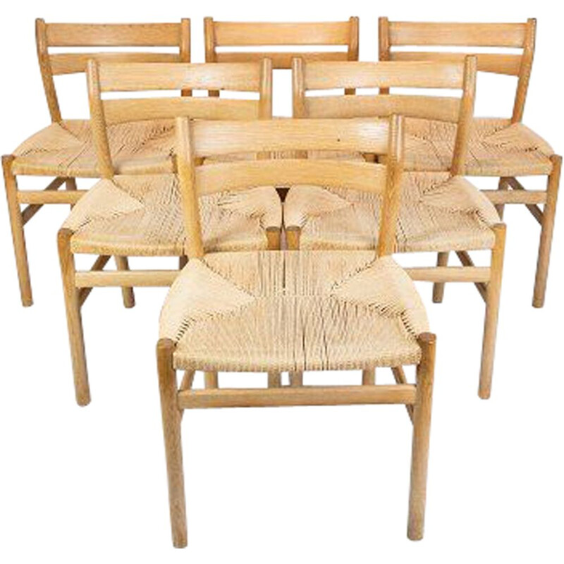 Set of six vintage oak and paper cord dining room chairs by Borge Mogensen 1960s