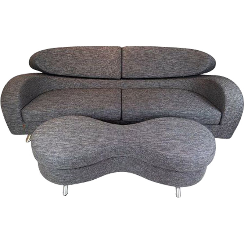 Vintage Two seater sofa of grey wool fabric with stool by the norwegian brand Brunstad
