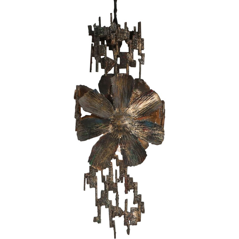 Vintage Brutalist Chandelier by Salvino Marsura Italy 1970s